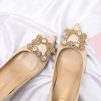 f5b80a4a1 2018 New Rhinestone Square Buckle Satin High Heels Fashion Pointed Thick  With Wedding Shoes Banquet Shoes