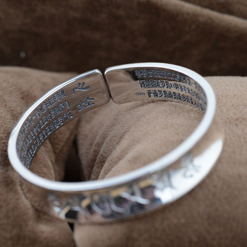 Pure 925 Silver Bangle Mantra Good Luck 100% S925 Sterling Silver 5.3cm Om Mani Padme Hum Bangles For Women Men Jewelry