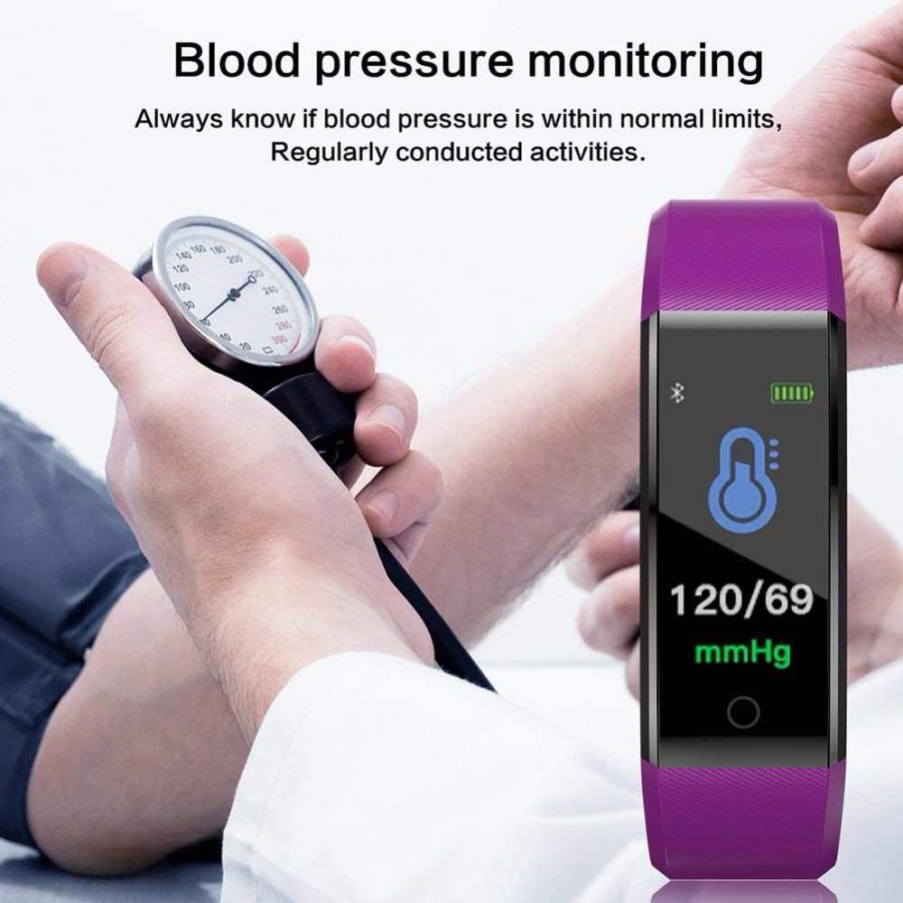 Nowa inteligentna bransoletka fitness tracker Sport zegarek mężczyźni kobiety tętno monitor ciśnienia krwi kolorowy ekran Bluetooth inteligentny zegarek