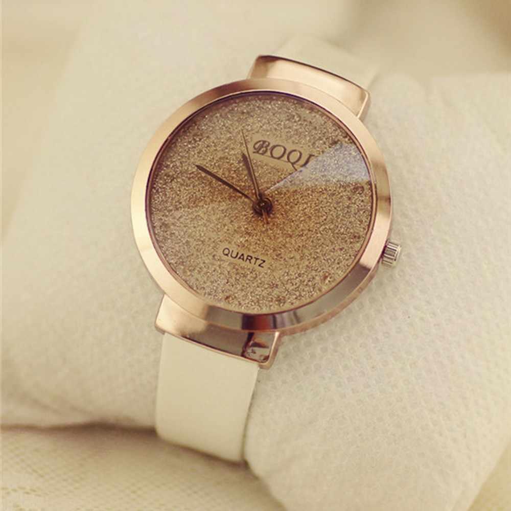 Mujer chica de lujo Sands estrellado Simple temperamento Reloj de cuarzo Mujer relojes de marca de lujo Reloj de Mujer las mujeres relojes de moda