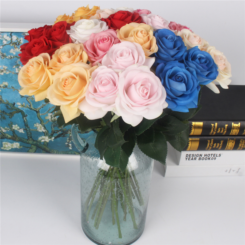 JAROWN Artificial Real Touch Hand Feel Rose Flowers For Valentine`s Day Preparation Wedding Decoration Home Decor (23)