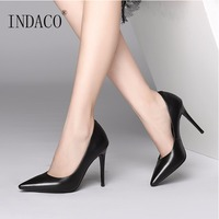 2018 NEW Autumn Black White Leather High Heel Pumps Extreme High Heel Shoes 9cm OL Lady Shoes Office Hotel Working Shoes