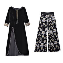 New Korean Fashion Black Long Top Coat Dress & Floral Print Wide Pants 2 Pcs Clothing Set Vacation Outift Vintage Vestido Women black floral print flared long pants
