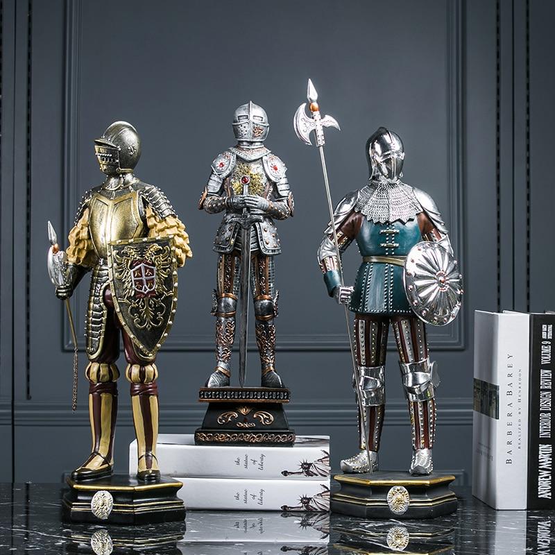 Européenne spartiate samouraï armure guerrier Statue Figure mythologique médiéval blindé soldat Sculpture résine artisanat décoration de la maison