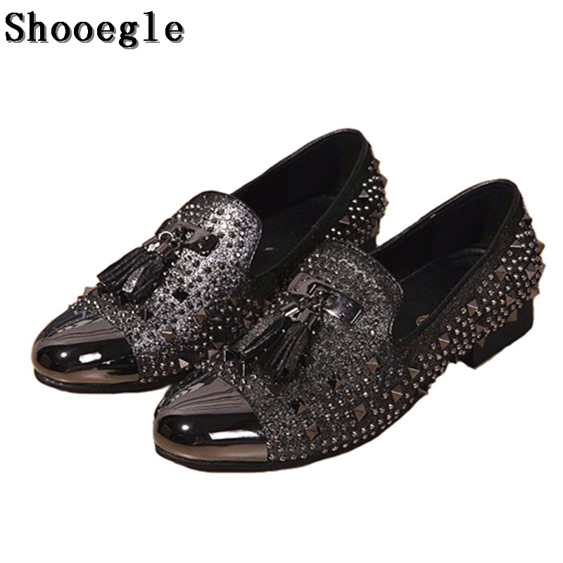 SHOOEGLE Foreign Trade Custom Men Shoes Slip On Casual Rivets Men Shoes Fashion Breathable Nightclub Stage Shoes Tide SIZE 36-47 2017 new spring imported leather men s shoes white eather shoes breathable sneaker fashion men casual shoes