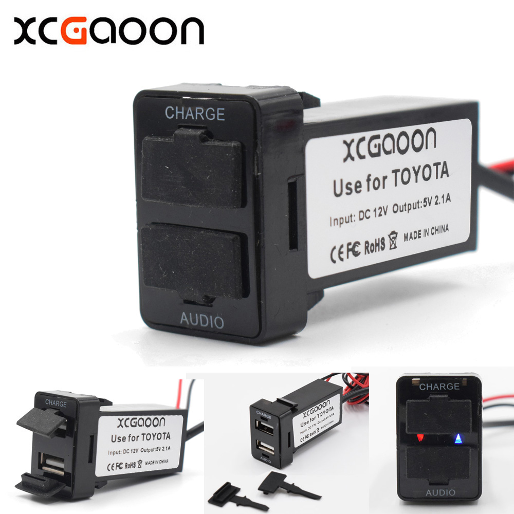 XCGaoon 5 piece Special 5V 2.1A Car USB Socket Charger Adapter & USB Audio Socket Use for TOYOTA Corolla Auris Avensis RAV4