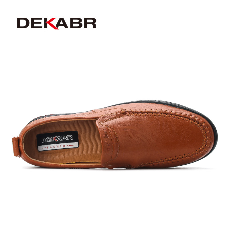 Image 2 - DEKABR Men Shoes Genuine leather Comfortable Men Casual Shoes Footwear Chaussures Flats Men Slip On Lazy Shoes Zapatos HombreMens Casual Shoes   -