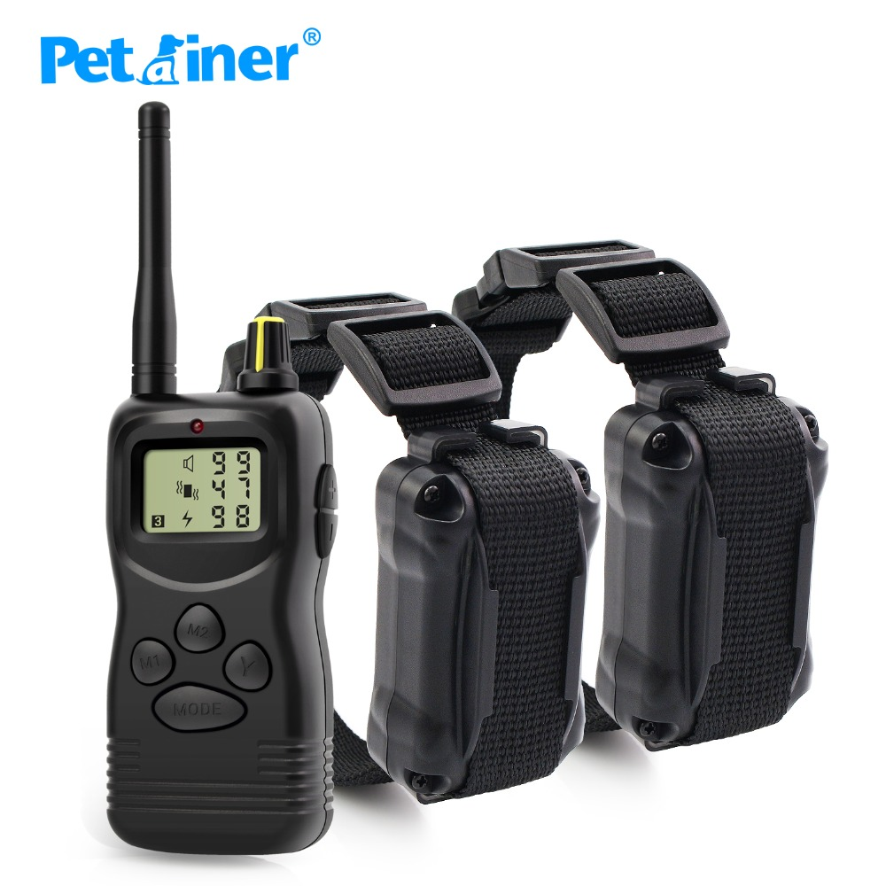 Petrainer 900 2 1000M Remote Sound Effects Electric Shock Collar For 2 Dogs