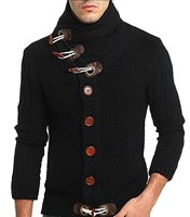 Men S Fashion Buttons Front Cable Knit Cardigan Sweaters Jackets Coat Lapel Male Winter Thicken