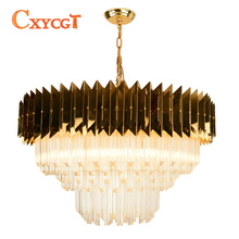 Modern Chain Chandelier Lighting Luxury Gold Polished Steel Lighting Fixtures Round Home Decoration LED Cristal Lustres