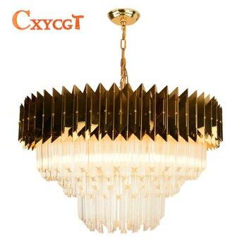 Moderne Kette Kronleuchter Beleuchtung Luxus Gold Poliert Stahl Leuchten Runden Hause Dekoration LED Cristal Lüster