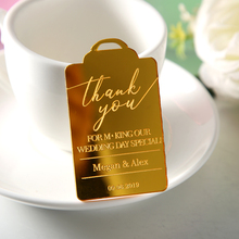 10pc Wedding Thank You Cards Luxury Gift Tags Engraved Personalised Names Save the Date Custom Gold Wedding Favor Bridal  Party 10pc tags door