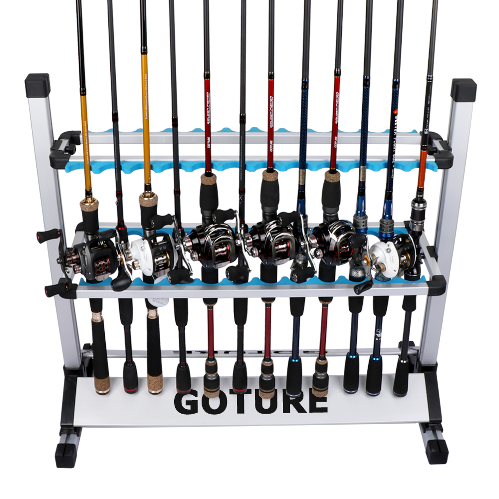 Goture Portable Fishing Rod Display Rack Aluminum Alloy and Ultralight Fishing Rod Holder Storage for 24 All Type Fishing Poles