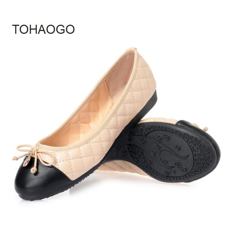 Spring and summer new color matching bow flats soft bottom apricot casual Women's shoes flat ballerina shoes Boat shoes