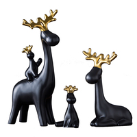 Nordic household ornaments ceramics deer family modern living room wine cabinet TV cabinet wedding gifts