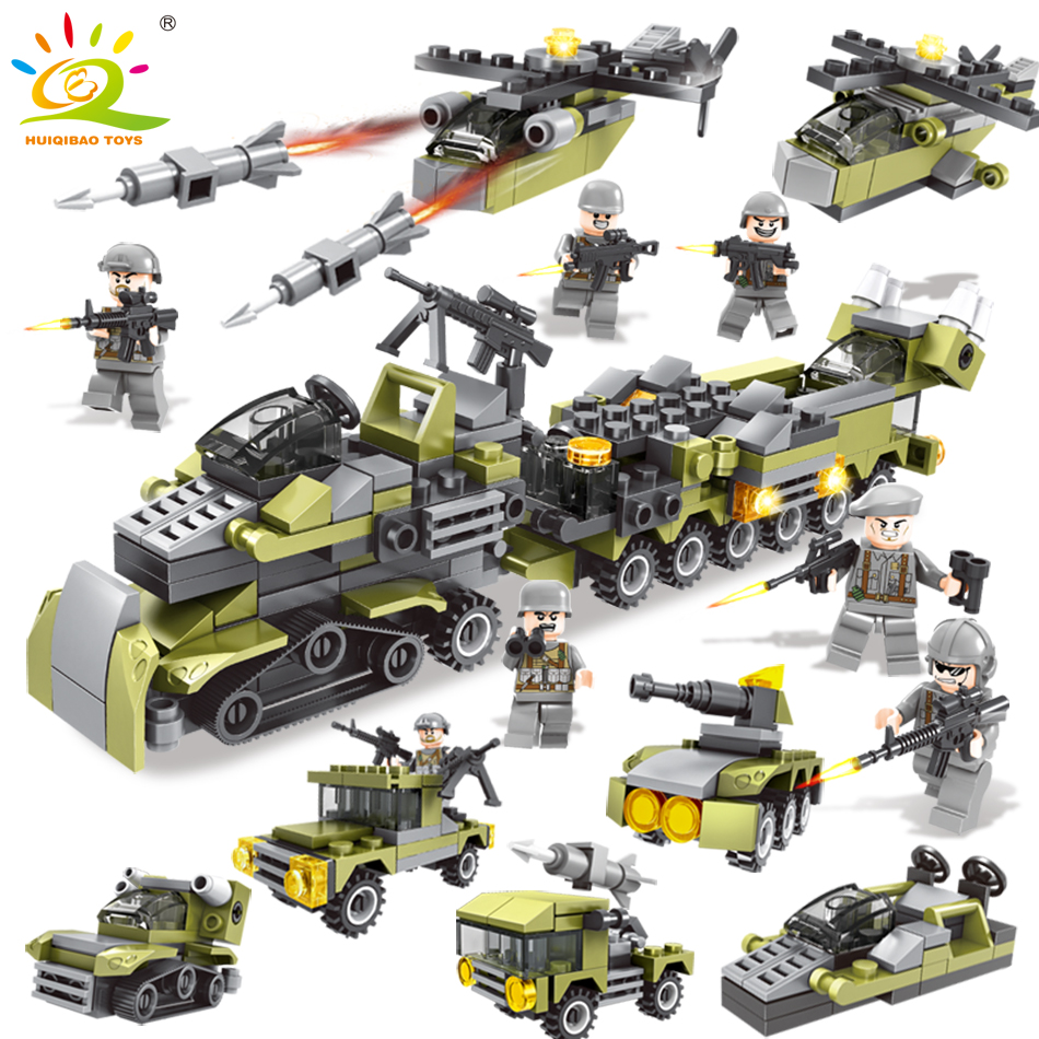 296PCS 6in1 Military Vehicle soldier set Building Blocks Compatible legoingly city Army DIY brick Educational Children Toys gift