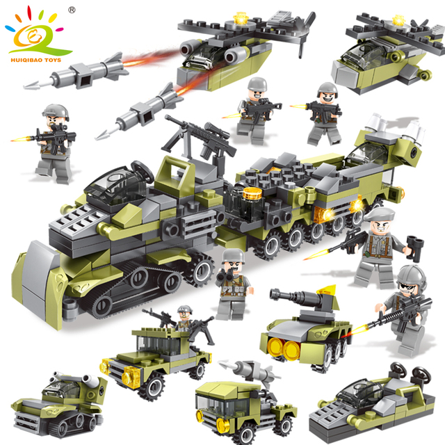 296PCS 6in1 Military Vehicle soldier set Building Blocks Compatible legoingly city Army  DIY brick Educational Children Toys