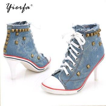 Women Canvas Shoes Denim High Heels Rivets Shoes Fashion Shoe Laces Sneakers Women Short Boots