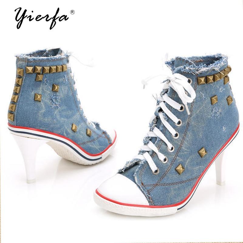 Women Canvas Shoes Denim High Heels Rivets Shoes Fashion Shoe Laces Sneakers Women Short Boots women shoes high heels high boots with fine denim women s boots