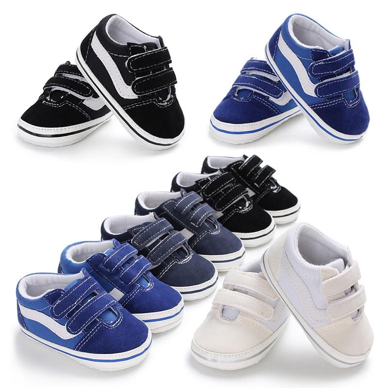 Bébé enfant en bas âge bébé garçon fille chaussures semelle souple 0-6 6-12 12-18M bébé mocassins chaussures en toile premiers marcheurs chaussures de sport vente chaude