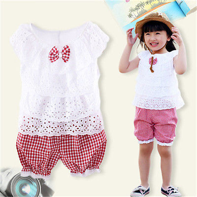 Summer Kids Baby Girl Clothing Set Children Girl Clothes Set Lace T Shirt + Lattice shorts Pants Outfits Lace Bow shirts Tops  new 2015 summer children t shirts baby clothes child 100
