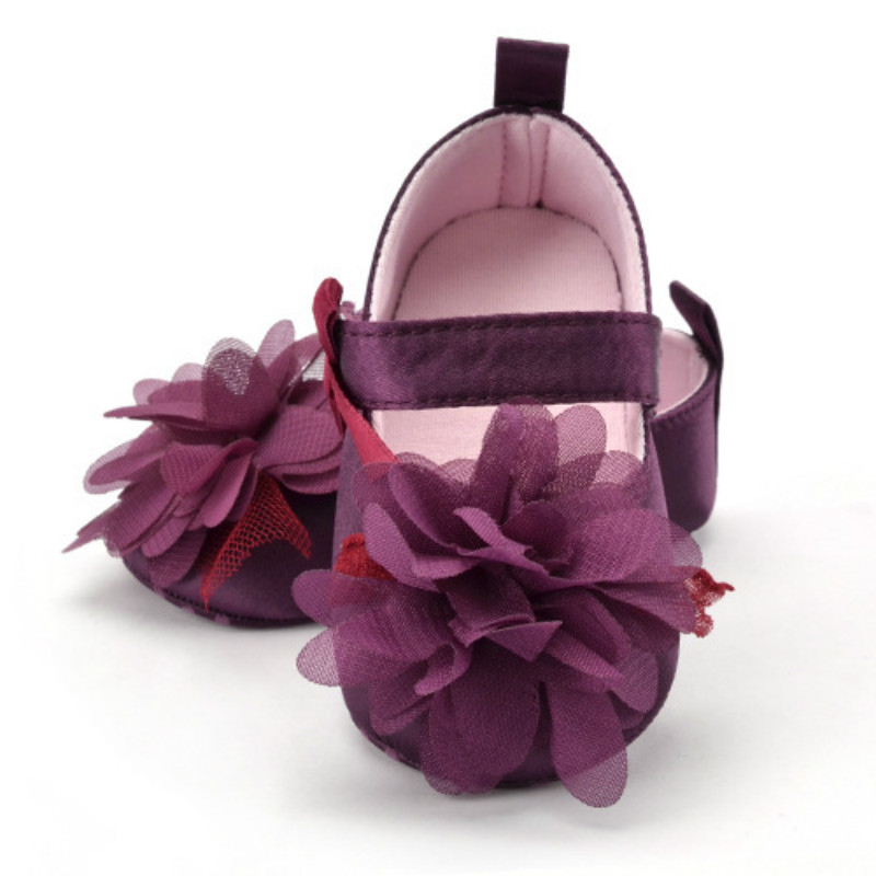 Newborn Shoes Toddler Infant Flower Purple Shoes Baby Girl Princess Crib Anti-slip indoor First Walker(China)