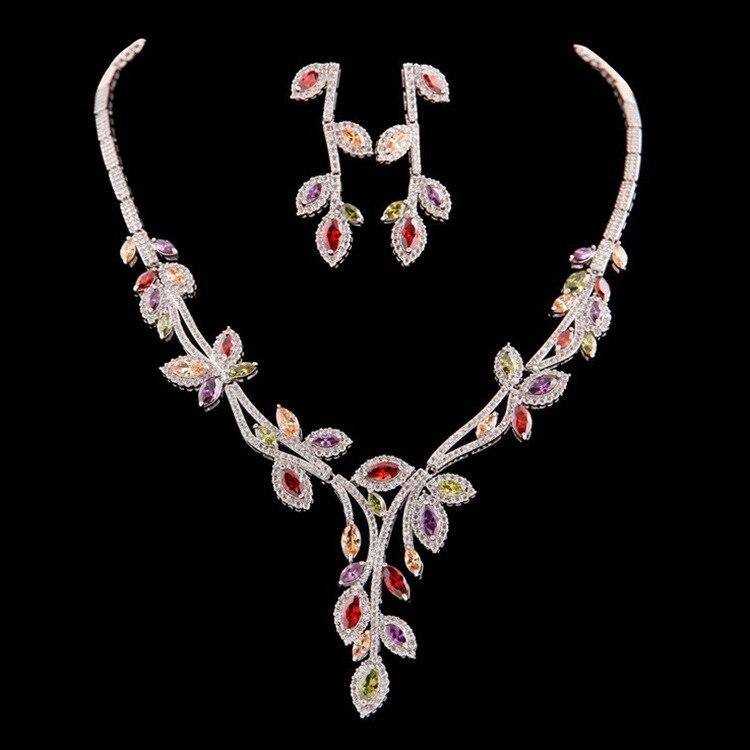 Nouvelle feuille ensemble haut de gamme bijoux mariée collier boucles d'oreilles ensemble robe de mariée accessoires de mode J5094