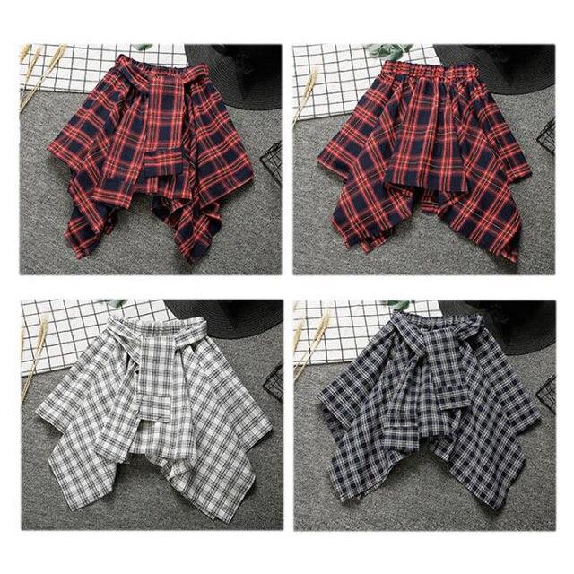 Harajuku Для женщин юбка элегантный дизайн нерегулярные юбки мини-милый школьная форма saia faldas дамы Юп Асимметричная юбка SK52001