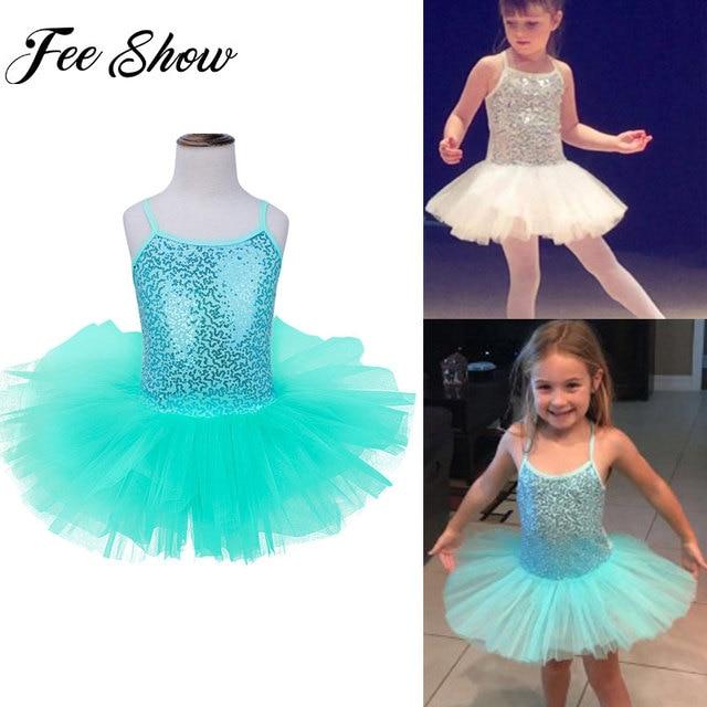 Feeshow Kids Girls Sequined Tutu Ballet Dance Dress Gymnastic Leotard Dress  Dancewear Ballerina Fancy Costumes Summer caa089ab5d4e