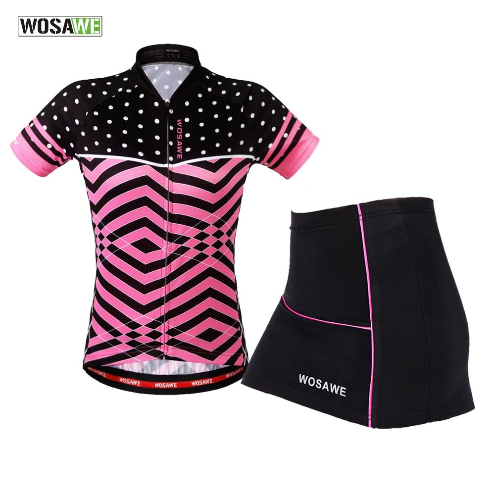 WOSAWE Cycling Clothes Teams Mini Skirt + Shirt Ropa Ciclismo Short sleeve Cycling Jersey Sets Breathable MTB Bike Clothing