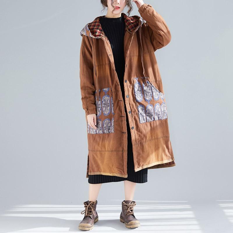Johnature Print Floral Vintage Parkas For Women Warm Cloths Patchwork Hooded Coats Button Pockets Plus Size