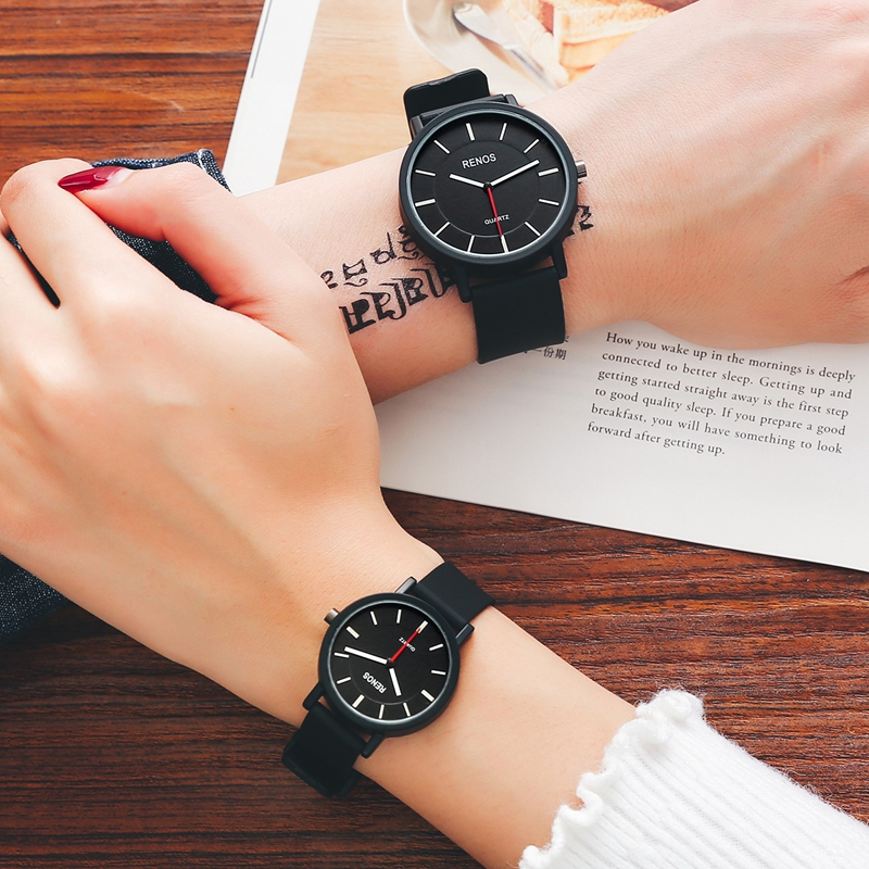 RENOS Lovers' Watch In Exquisite Box Simple Black White Quartz Wristwatches Fashion Casual Couple Watch Reloj De Los Amantes