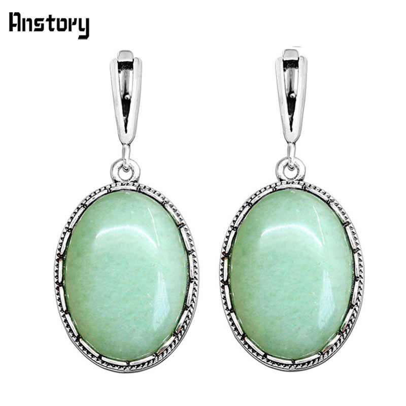 Big Oval Natural Jades Earrings Antique Silver Plated Party Hollow Flower Pendant Fashion Jewelry TE278