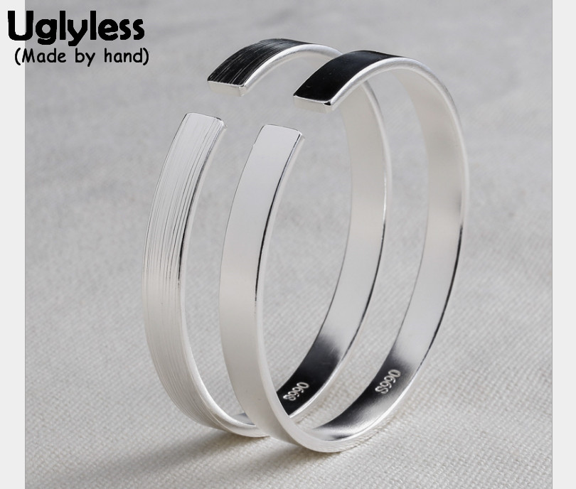 Uglyless Real S990 Fine Silver Flat Wide Bangle Classic Opening Bangles for Women Simple Fashion Korean Designer Handmade BijouxUglyless Real S990 Fine Silver Flat Wide Bangle Classic Opening Bangles for Women Simple Fashion Korean Designer Handmade Bijoux