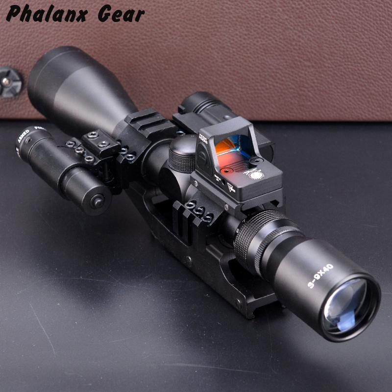 5 In 1 New Hunting Scope Optics Qd 3 Side Rail Mounts 800 Lums Tactical Flashlight Rmr Red Point Visor Tactical Laser