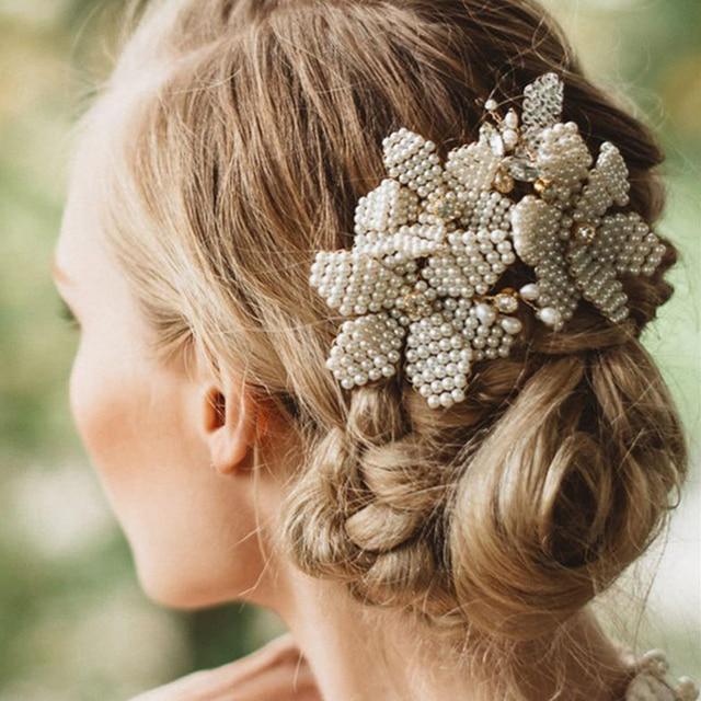 ad0a8ce62de TUANMING Luxury Gold Hair Accessories Handmade Pear Women Hair Comb Crystal  Hair Clip Headpiece Wedding Bridal Hair Jewelry Prom