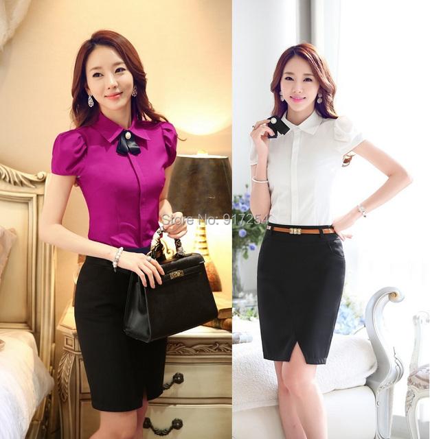 Nova verão 2015 Formal uniforme feminino ternos com blusas e saia para senhoras escritório desgaste OL conjunto elegante