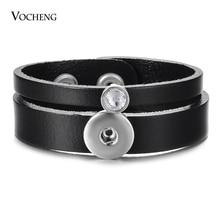 10 Stks/partij Vocheng Ginger Snaps Lederen Armband Zwarte Kleuren Verwisselbare Sieraden Fit 18Mm NN 709 * 10