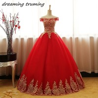 Red And Gold Ball Gown Quinceanera Dresses 2018 Long Puffy Applique Lace Tulle vestido de debutante Sweet 16 Dresses For Girls