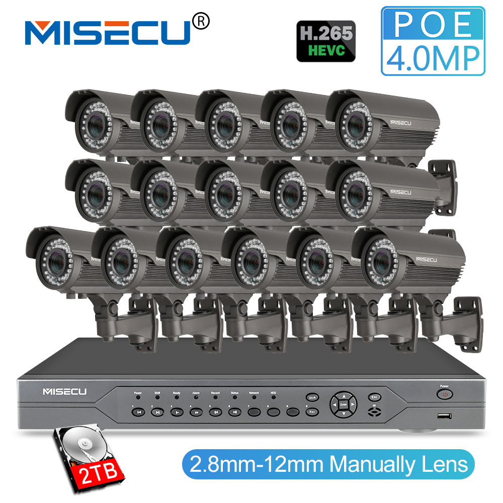 MISECU H.265 16CH POE 48 V NVR Kit avec 16 PCS 4MP POE Caméra 2.8-12mm Objectif À Focale Variable CCTV Système Nuage Prend En Charge PC & Mobille Vue