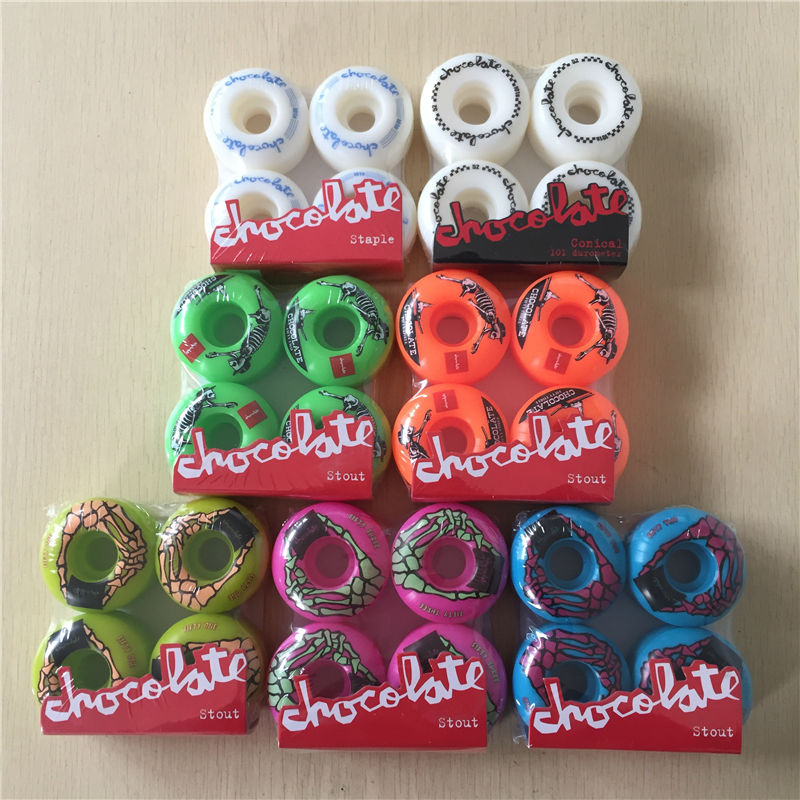 USA BRAND 50mm -53mm Chocolate 101A Original New PRO Skateboard wheels for skateboard deck Ruedas Patines Plastic Rodas Skate  50mm 53mm 101a chocolate skateboard wheels made by high density pu 4 wheels for skate trucks parts to set up for the board