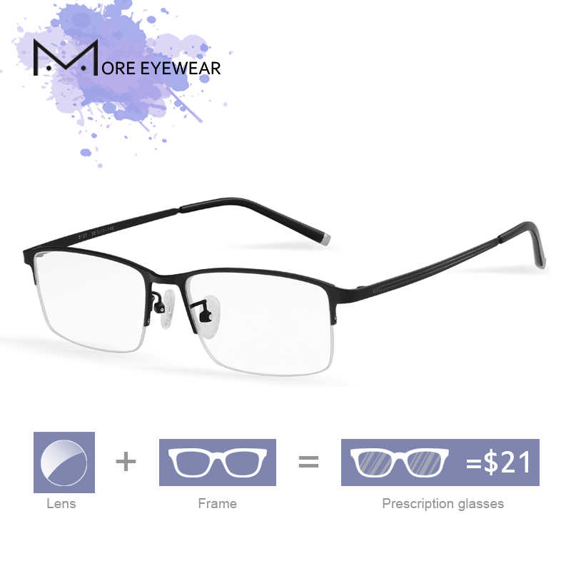 c4eb6aa2ab5 5127 Titanium man Glasses male Prescription Glasses Optical Lens  Semi-rimless Frame Eyeglasses Rectangle Black