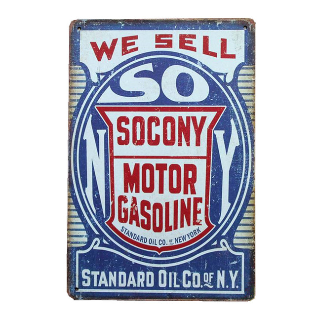 We Sell Motor Gasoline Wall Decor Garage Signs Tin Plate Car Gas Oil Full  Service Metal Plaque Vintage Home Decoration YN154-in Plaques & Signs from