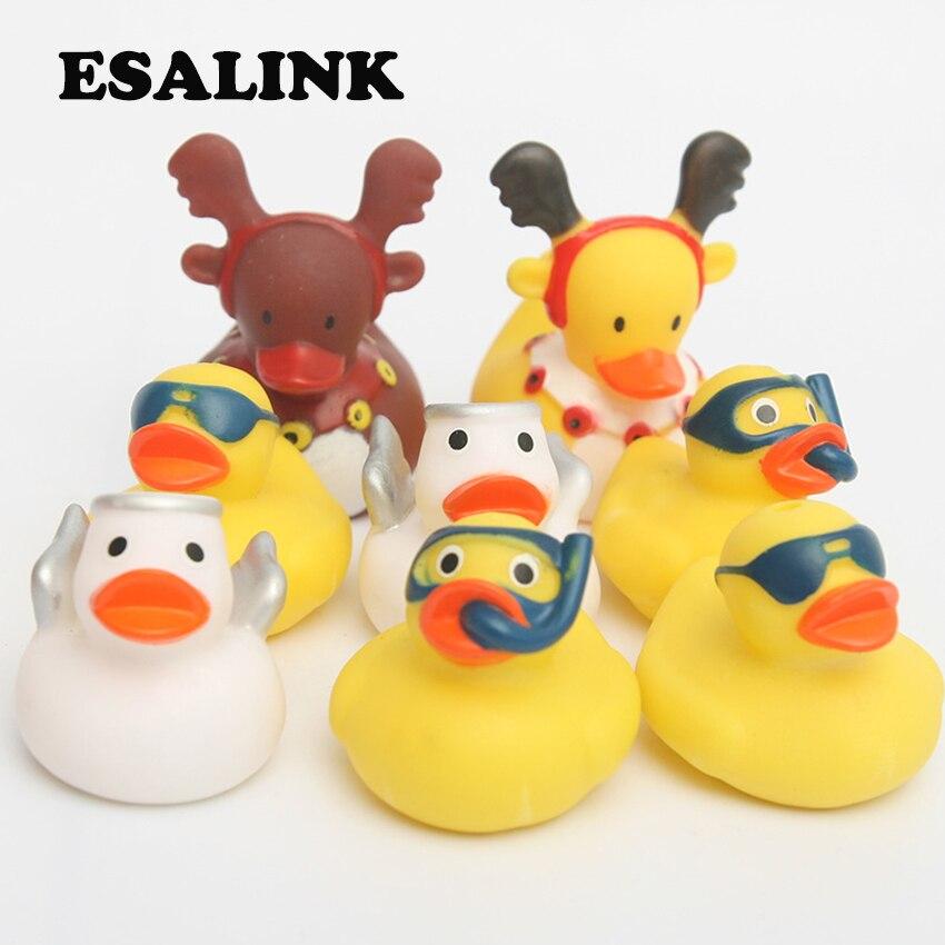 8 pcs Brinquedos De Banho Pato De Borracha flutuando pato Bonito Do Bebê brinquedos de Água Pouco anjo. Pato amarelo Pequeno pato de natal Presente Para as crianças