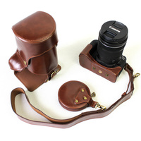 High Quality New Luxury Pu Leather DSLR Camera Case Bag For Canon 77D 800D Camera Cover Pouch With Strap Open Battery