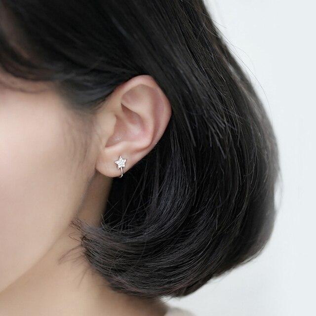 New Cute Korean Style AAA Cezch Zircon Little Star Non Piercing Clip Earring Ear Cuff Tragus Earring 2018 Femme Bijoux Brincos 2