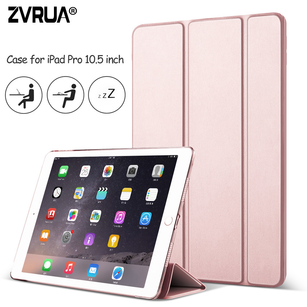 Case for New iPad Pro 10.5 inch 2017, ZVRUA YiPPee Color Ultra Slim PU leather Smart Cover Case Magnet wake up sleep for Pro10.5 back shell for new ipad 9 7 2017 genuine leather cover case for new ipad 9 7 inch a1822 a1823 ultra thin slim case protector