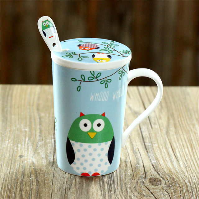 Free Shipping Night Owl Tall Ceramic Coffee Mug With Lid And Spoon 4 Colors Optional Cute