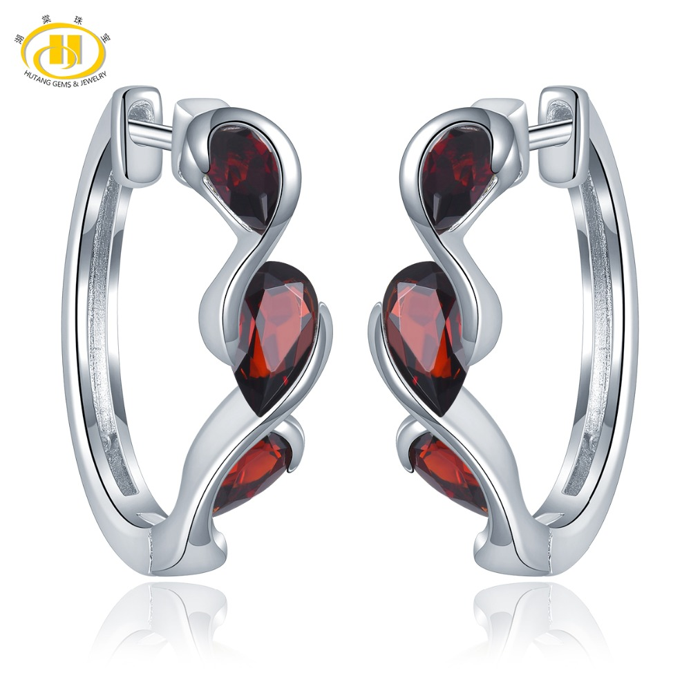Hutang 2.28ct Natural Garnet Hoop Earrings 925 Sterling Silver Fine Gemstone Jewelry Infinite Elegant Design for Women Gift New