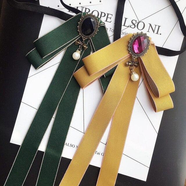 Nouveau Mode Femme & Homme Broches Long Ruban Grand Bowknot de Chemise Arc Cravate Pins Collier Accessoires De Mode Bijoux